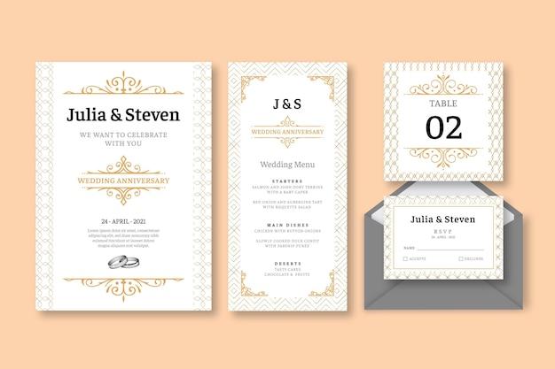 Coleção de artigos de papelaria de aniversário de casamento Vetor grátis