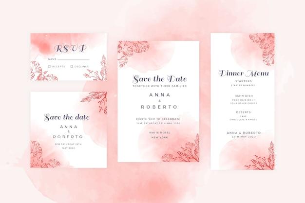 Coleção de artigos de papelaria de casamento de terracota Vetor grátis