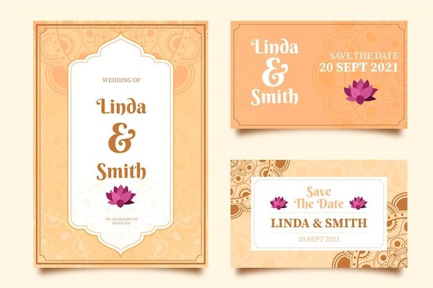 Coleção de artigos de papelaria de casamento indiano Vetor Premium