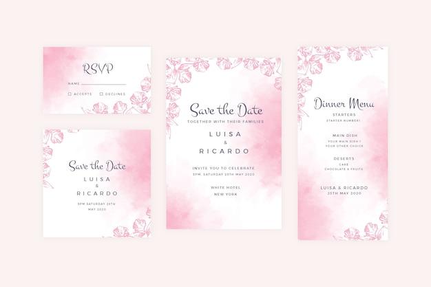 Coleção de artigos de papelaria de casamento pastel em pó Vetor grátis