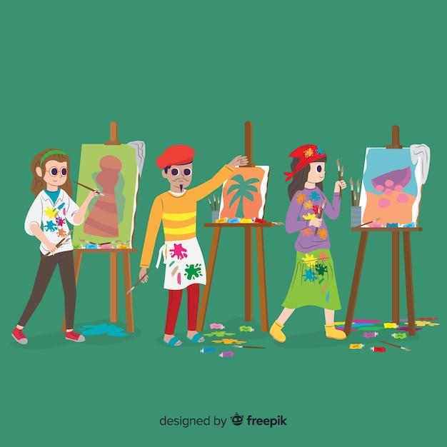 Coleção de artistas fazendo seu trabalho Vetor grátis