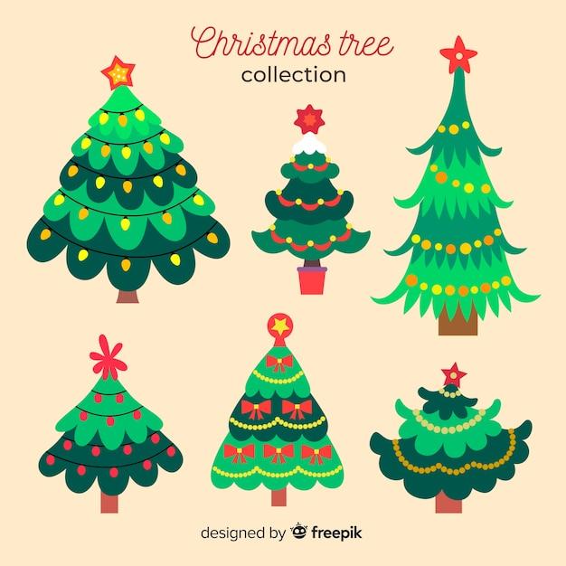 Coleção de árvore de natal de design plano Vetor grátis
