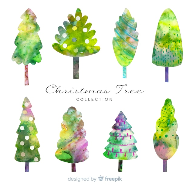 Coleção de árvore de natal em aquarela Vetor grátis