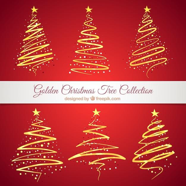 Coleção de árvores de Natal abstratas douradas Vetor grátis