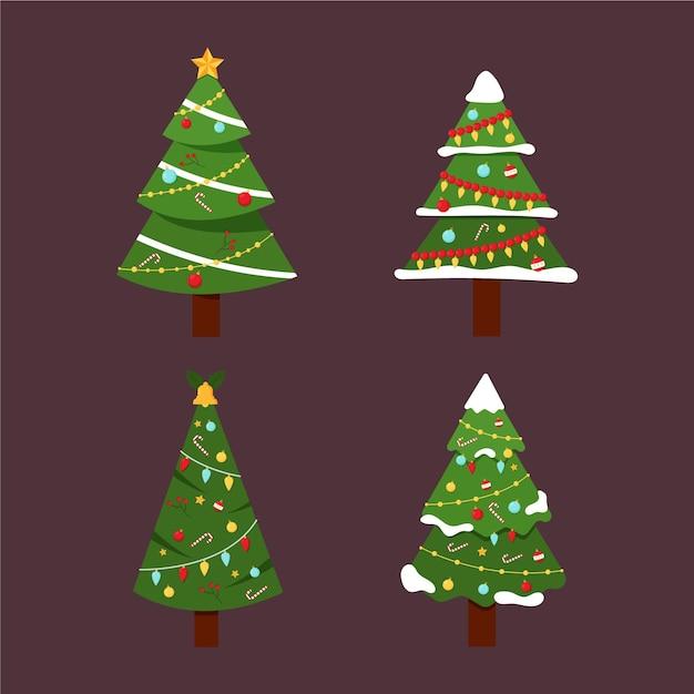 Coleção de árvores de natal de design plano Vetor grátis