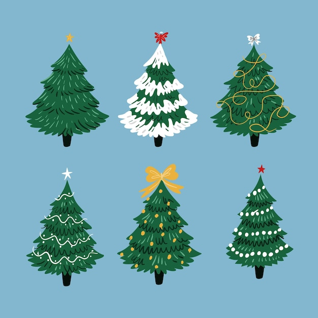 Coleção de árvores de natal de design plano Vetor Premium