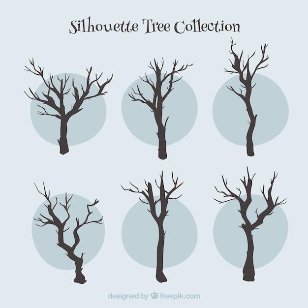 Coleção de árvores de silhuetas Vetor grátis
