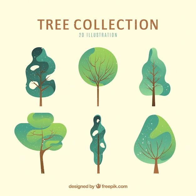Coleção de árvores no estilo 2d Vetor Premium