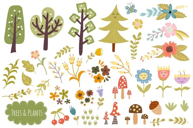 Coleção de árvores, plantas e flores. conjunto de elementos de floresta bonito. Vetor Premium