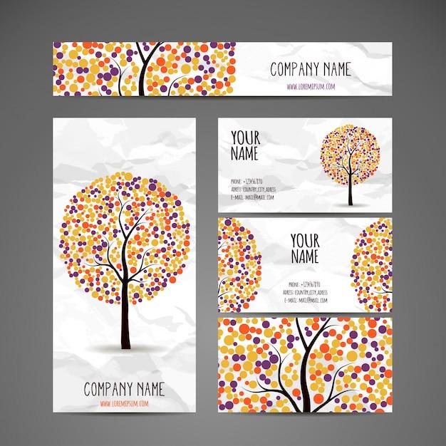 Coleção de árvores vetoriais com folhas redondas multicoloridas Vetor grátis