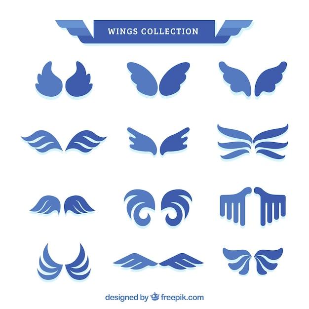 Coleção de asas azuis no projeto liso Vetor grátis