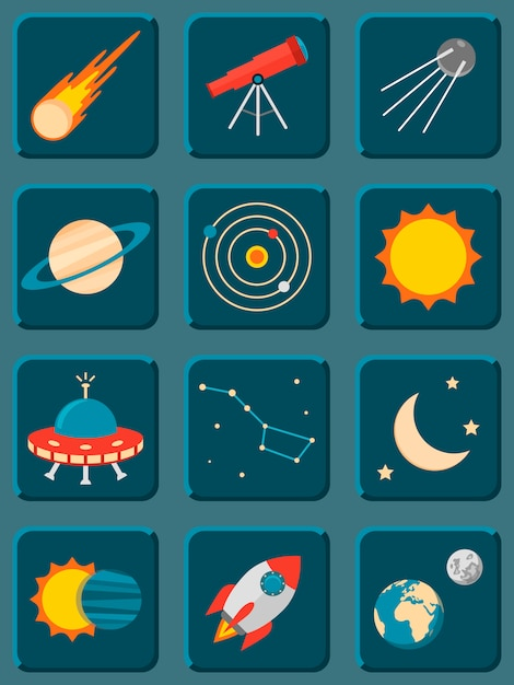 Coleção de astronomia plana colorida e ícones do espaço Vetor Premium