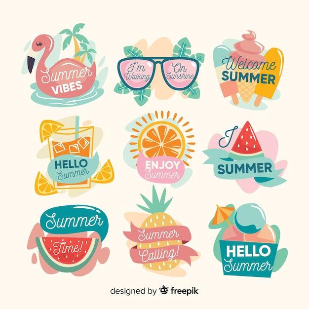 Coleção de autocolantes de verão kawaii Vetor grátis