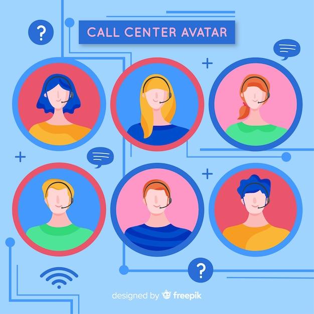 Coleção de avatar de call center Vetor grátis