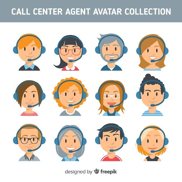 Coleção de avatar de centro de chamada criativa Vetor grátis
