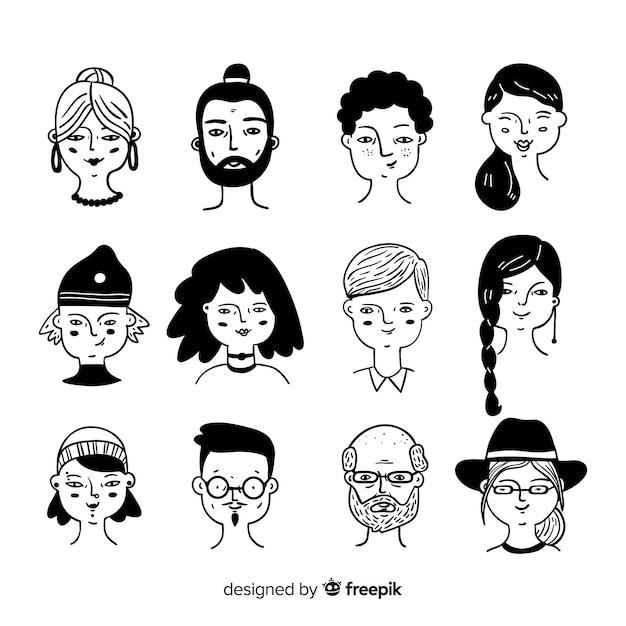 Coleção de avatar de pessoas desenhadas a mão Vetor grátis