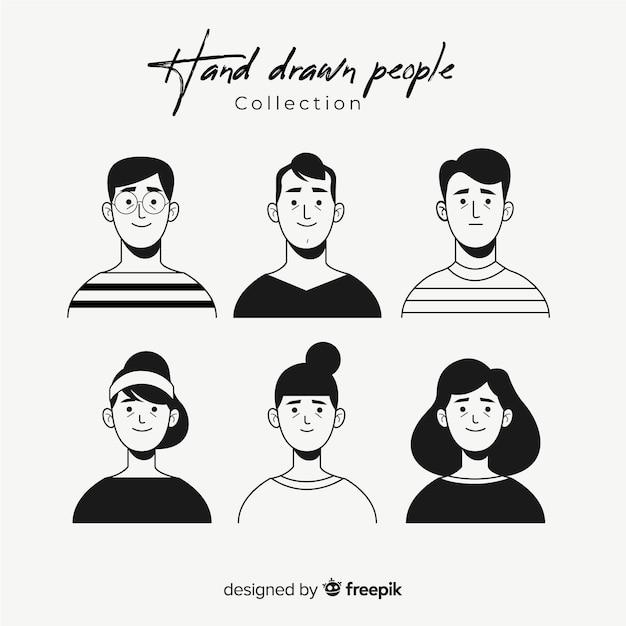Coleção de avatar de pessoas incolor de mão desenhada Vetor grátis