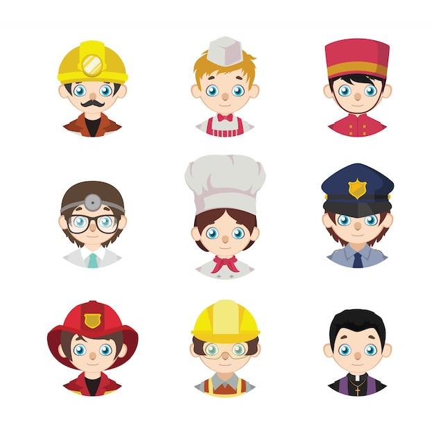 Coleção de avatares de desenhos animados de pessoas representando empregos Vetor Premium