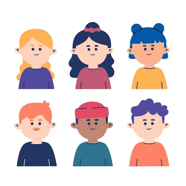 Coleção de avatares de pessoas Vetor grátis