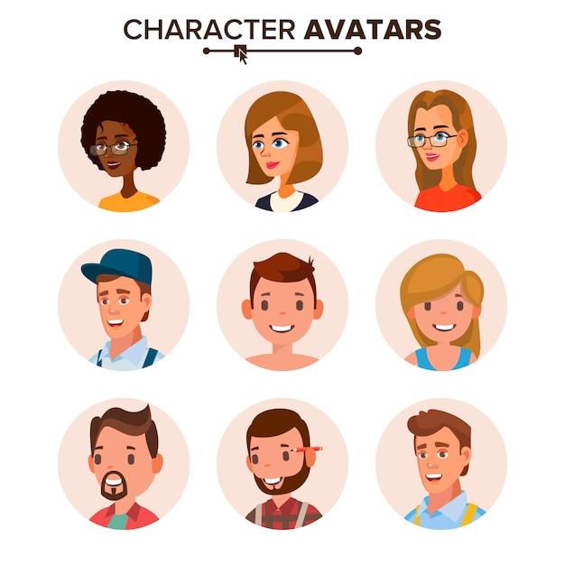 Coleção de avatares de pessoas. Vetor Premium