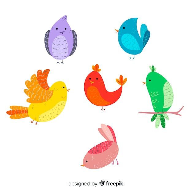 Coleção de aves de outono mão desenhada Vetor grátis
