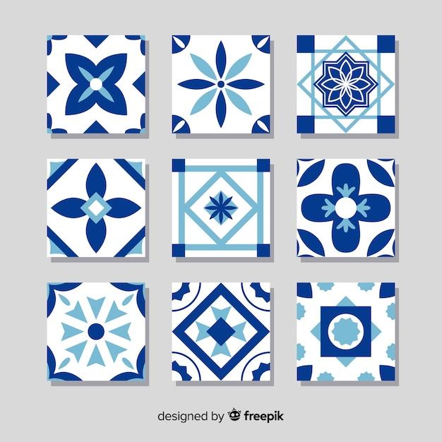 Coleção de azulejos coloridos com design plano Vetor grátis