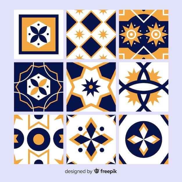 Coleção de azulejos laranja e azul Vetor grátis