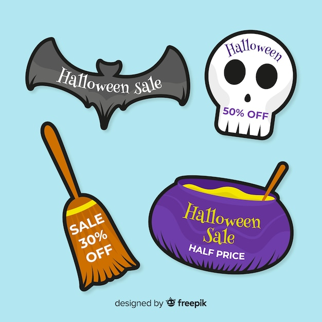 Coleção de bagde de venda de halloween Vetor grátis