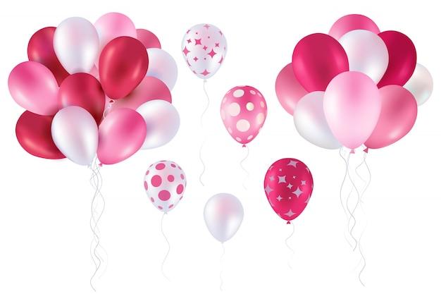 Coleção de balão rosa Vetor Premium