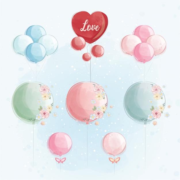 Coleção de balões com coração Vetor Premium