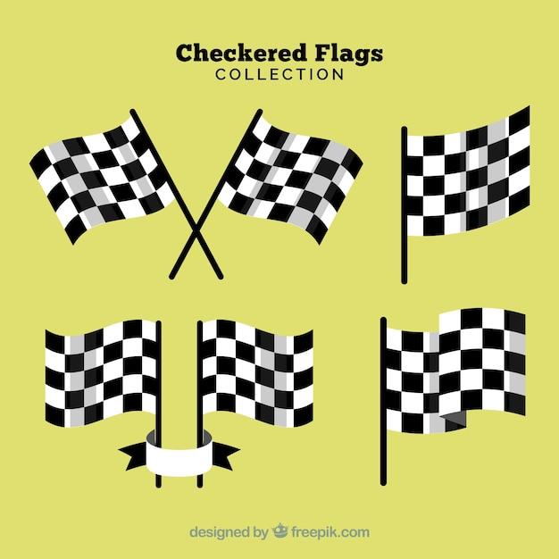 Coleção de bandeira de corrida quadriculada com design realista Vetor grátis