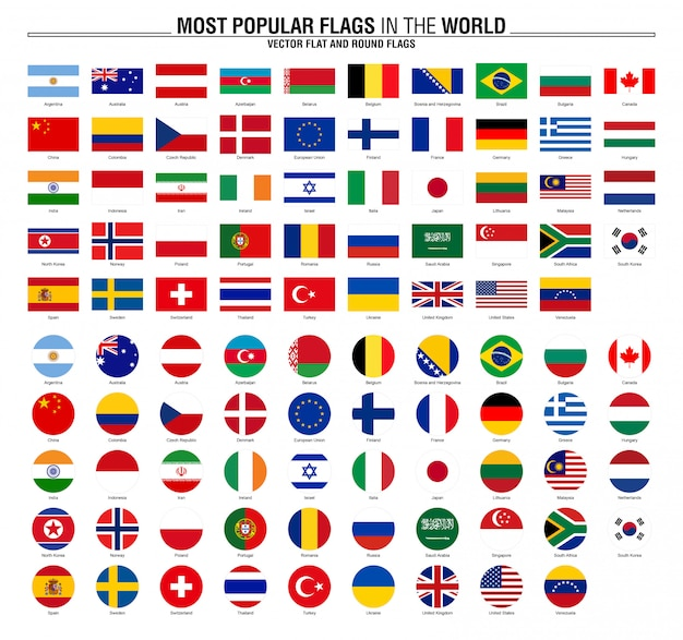 Coleção de bandeiras, bandeiras do mundo mais popular Vetor Premium