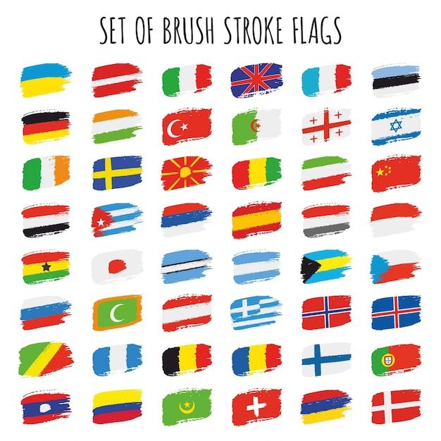 Coleção de bandeiras de pinceles Vetor Premium