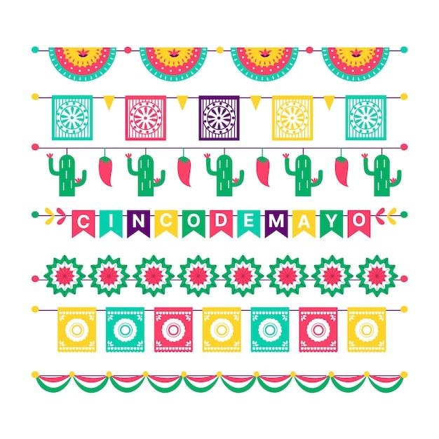 Coleção de bandeiras mexicanas coloridas Vetor grátis