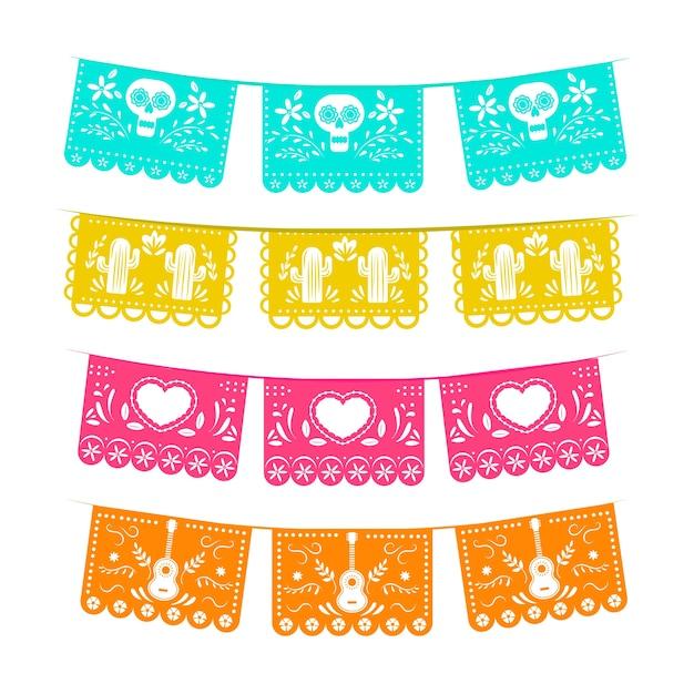 Coleção de bandeiras mexicanas Vetor grátis