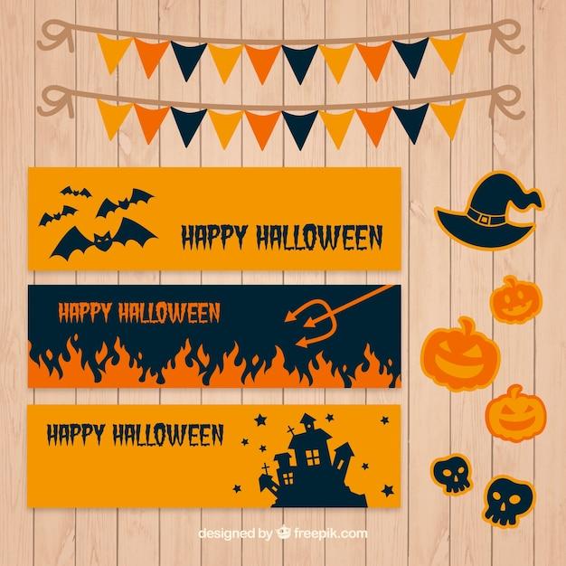 Coleção de bandeiras minimalistas com elementos de halloween Vetor grátis