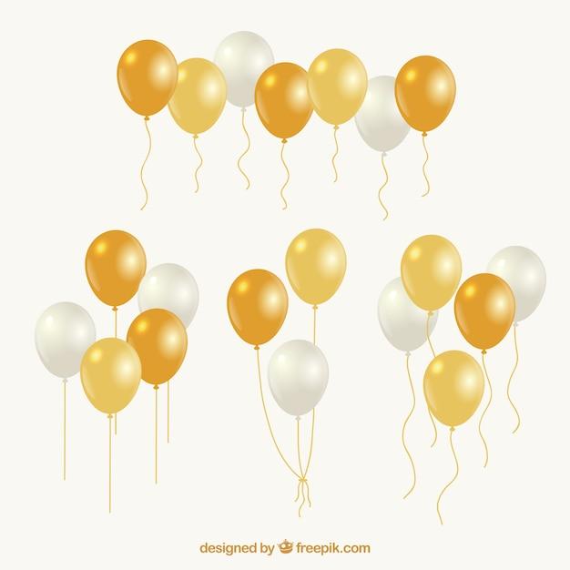 Coleção de bando de ouro e branco balões Vetor grátis