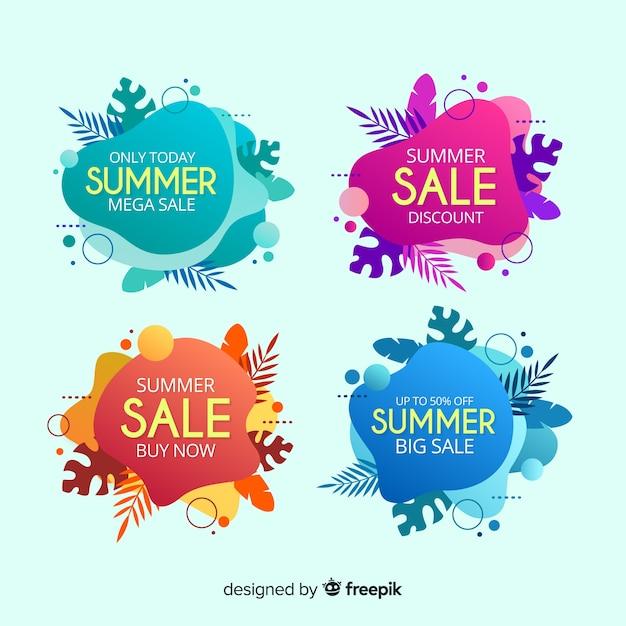 Coleção de banner colorido líquido de venda de verão Vetor grátis