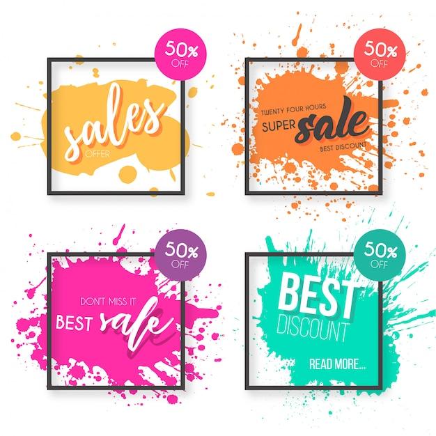 Coleção de banner colorido venda com salpicos de tinta Vetor grátis