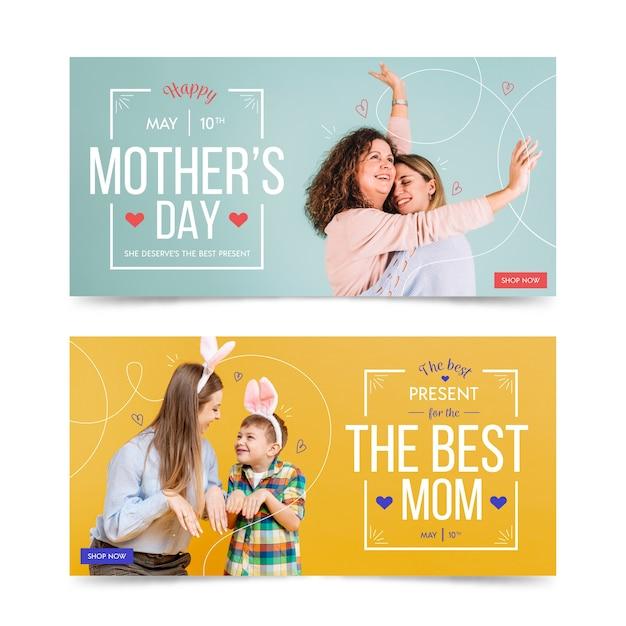 Coleção de banner com o conceito de dia das mães Vetor grátis