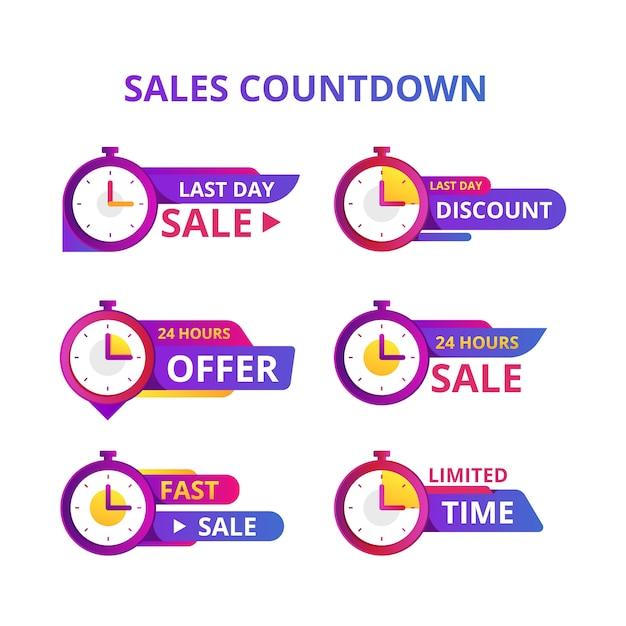 Coleção de banner de contagem regressiva de vendas Vetor Premium