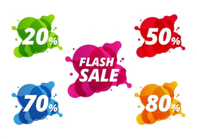 Coleção de banner de desconto colorido venda Vetor Premium