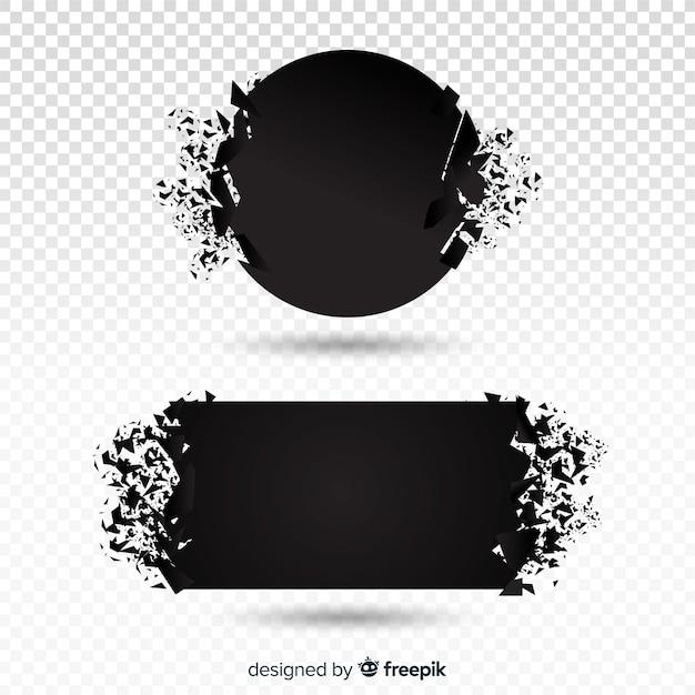 Coleção de banner de explosão escura Vetor grátis