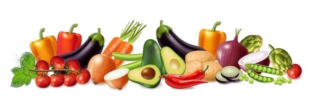 Coleção de banner de legumes Vetor Premium