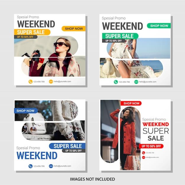 Coleção de banner de mídia social de vendas de moda Vetor Premium