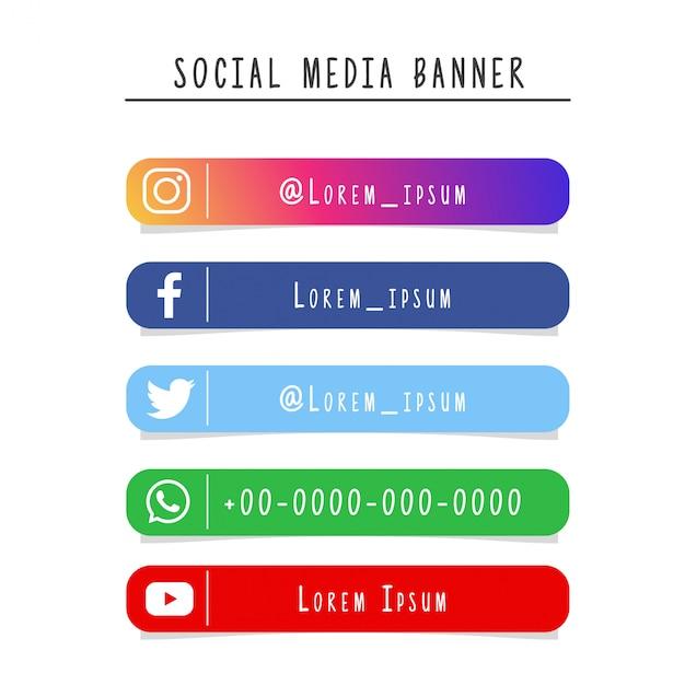 Coleção de banner de mídia social Vetor Premium