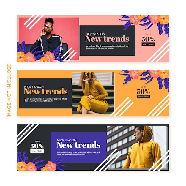 Coleção de banner de moda promoção Vetor grátis