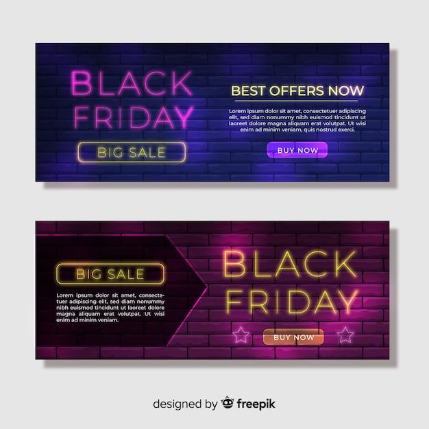 Coleção de banner de néon preto venda sexta-feira Vetor grátis