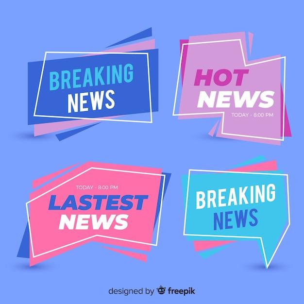 Coleção de banner de notícias plana mais recente colorido Vetor grátis