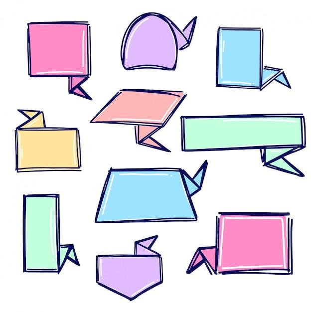 Coleção de banner de origami Vetor Premium